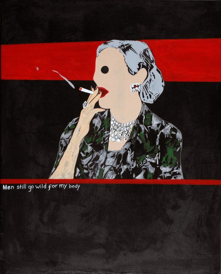 Cougar Smoking A Cigarette.Acrylic on canvas.