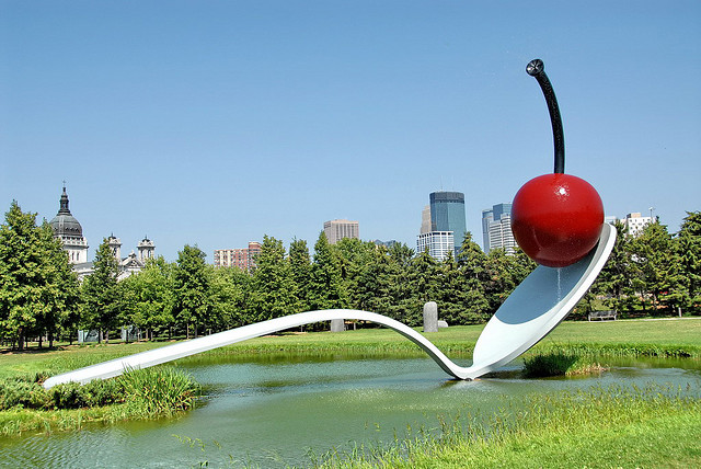 "Chaes Oldenburg, ""Spoonbridge and Cherry, installed 1988"