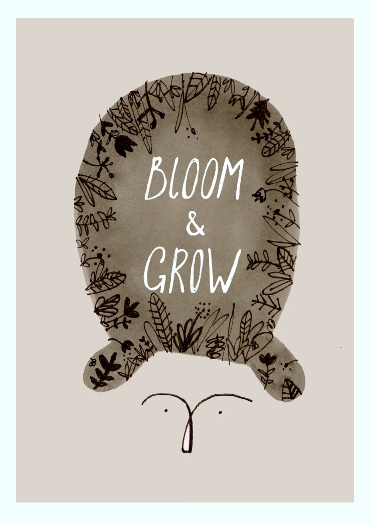 bloom and grow hair print