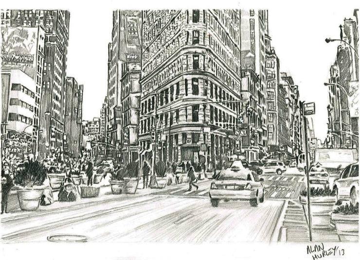 Street level city scene