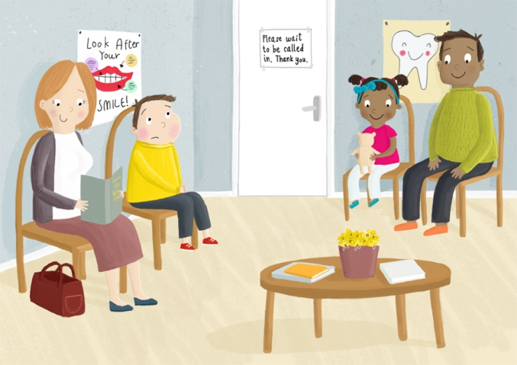 dentist waiting room becky down illustration