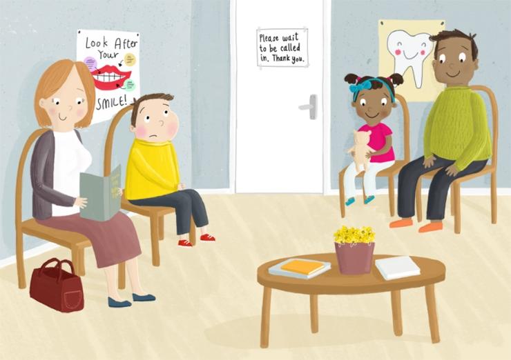 dentist waiting room becky down illustration