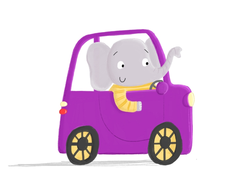 elephant car becky down illustration
