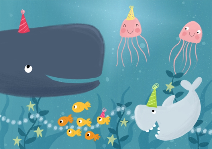 under the sea party becky down illustration